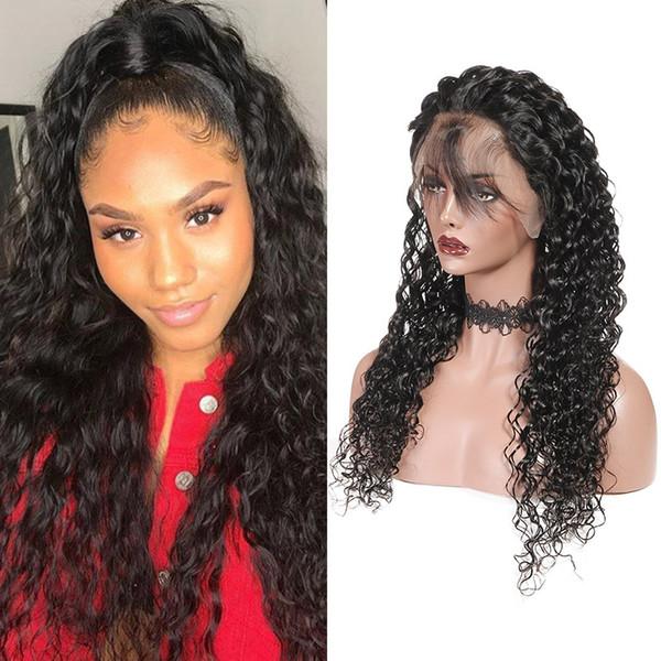 Water wave human hair lace front wig 13x6 lace frontal wig yaki traight brazilian body loo e deep curly human hair wig peruvian hair, Black;brown