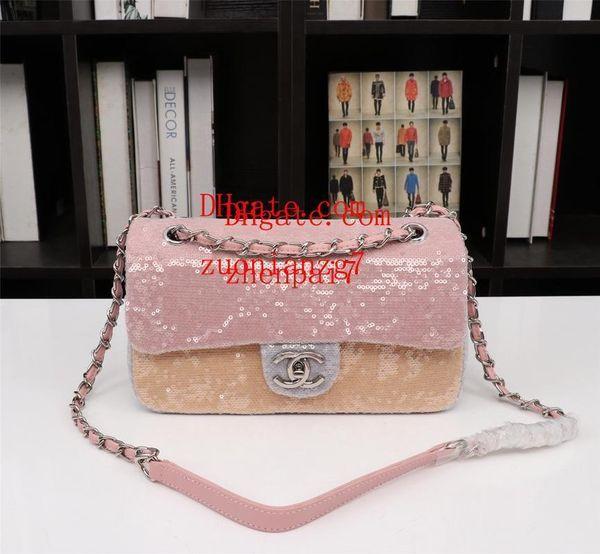 2019 marka çanta Yüksek kalite moda Pembe sequins omuz çantası moda mini çanta Bayanlar moda çanta ile Eşleştirilmiş