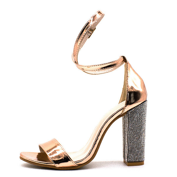 Buckle Strap Champagne Gladiator Women Sandals Rhinestone Clear Transparent High Heels Pumps Fashion Summer Party Ladies Shoes Jack Rogers Sandals