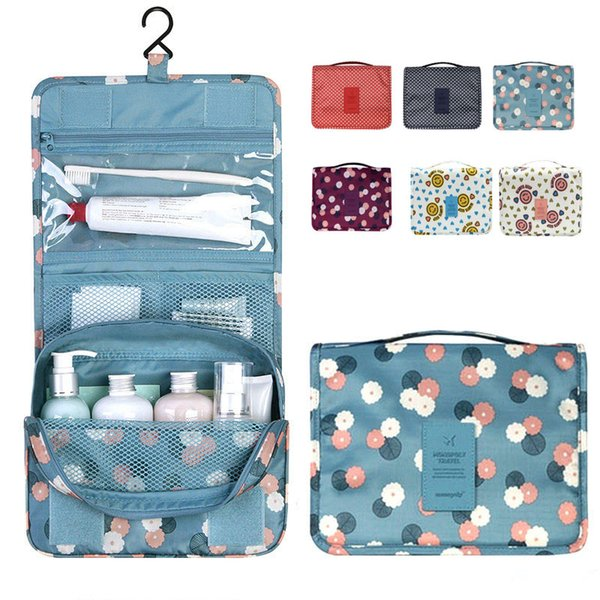Unisex Portable Cosmetic Organizer Waterproof Folding Large Capacity Hook Travel bag Hanging Toiletry Bag Wash Makeup Bags 9 Colors