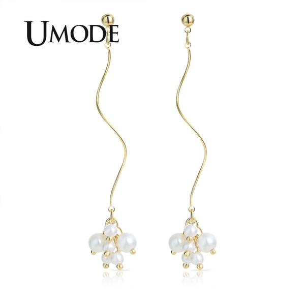 a7013d0c1ac3a 2019 UMODE Gold Bohemian Pearl Drop Earrings For Women Korean Party Long  Ear Line Dangle Earrings Gift Fashion Jewelry 2019 UE0514 From Henrye,  $34.66 ...