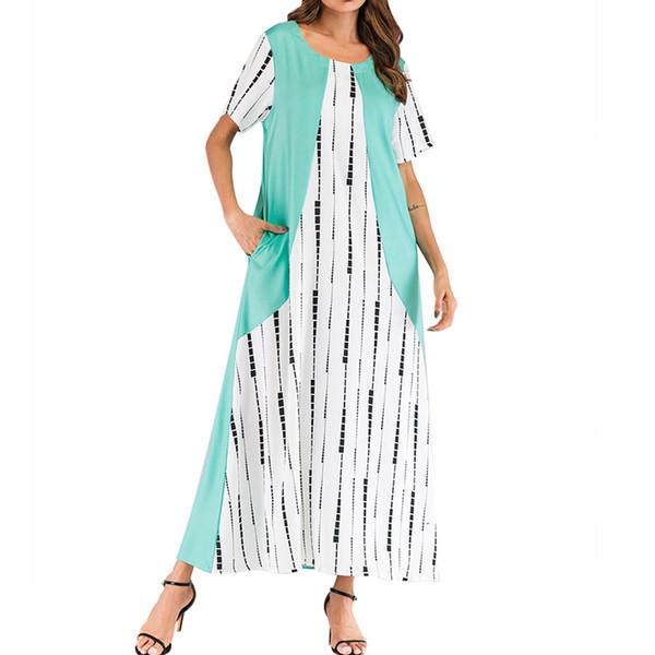 Moslemische Frauen Kleid Mit Langen Ärmeln Mode Patchwork Mode Frauen Oansatz Kurzarm Farbblock Patchwork Lässige Z411