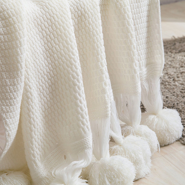 GIANTEX Soft Winter Warm Sofa Blanket Knitted Wool Ball Blanket Thread Photography Props 120x180cm U1974