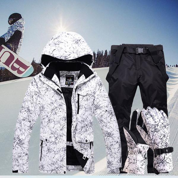 Новый сгущает Теплый Лыжный костюм Мужчины Женщины Зима ветрозащитный водонепроницаемый лыжи перчатки сноуборд куртка брюки костюм Мужской плюс размер 3XL T190920