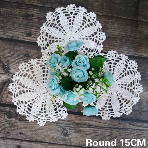 15CM ronde main Crochet Vintage Nappe napperons Mantel Table individuelle de mariage napperon plat Mat Coupe Pad café