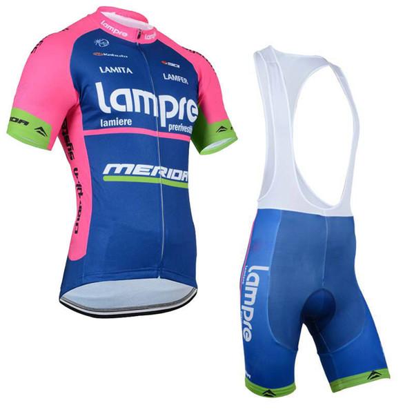 Yeni Lampre 2019 takım bisiklet kısa kollu forması ve önlüğü şort set nefes yaz Gömlek Ropa Ciclismo Erkekler Maillot Culotte Tops