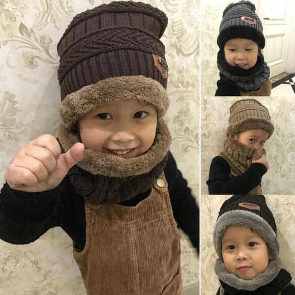 Toddler Kids Girls Boys Baby Infant Warm Crochet Knit Hat Beanie Cap Scarf Set