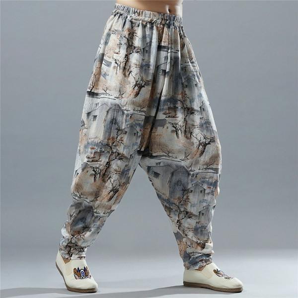 Coton Lin Big Drop Crotch Pants Hommes Inde Motif Bloomers Surdimensionné Taille Élastique Harem Pantalon Large Jambe Pantalon Baggy Ninja Pants