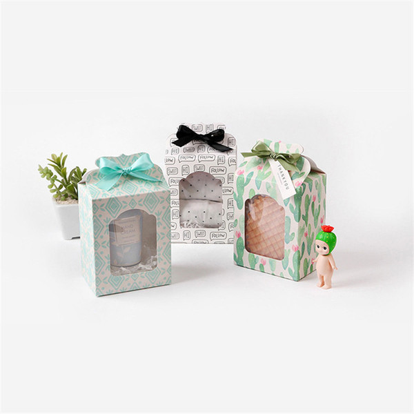 Paper Box Transparent PVC Window Soap Boxes Jewelry Gift Packaging Box Wedding Favors Candy Box CT0322
