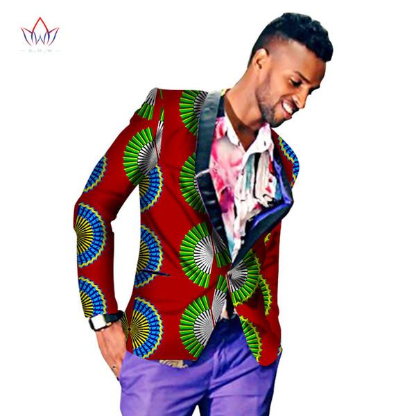2019 Men's African Wax Fabric Cotton Batik Blazers Geometric Flower Printing Slim Banquet Suits For Men