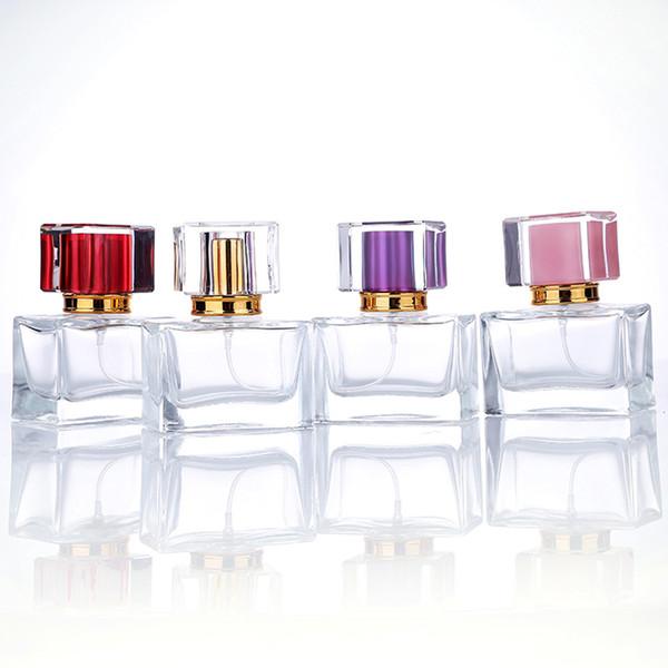 High_Grade Rectangular 30ml Perfume Spray Pump Glass Botellas de perfume vacías con 5 colores Pump Sprayer Perfume Bottle 1OZ