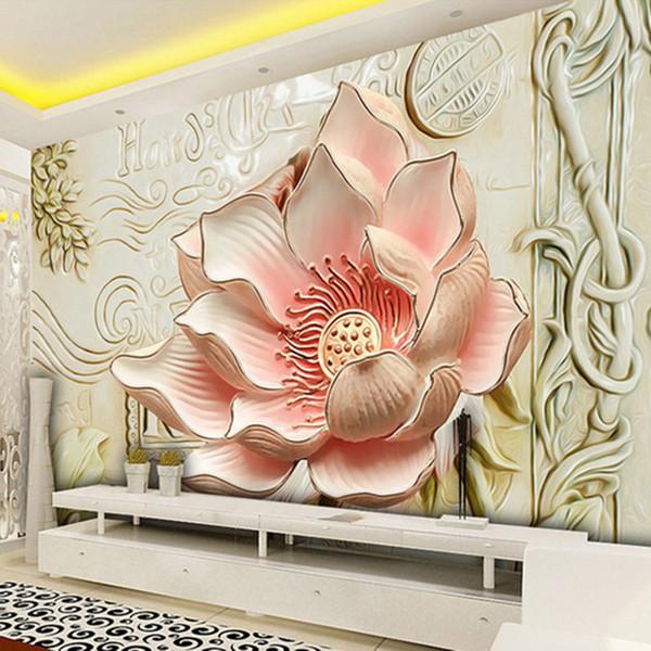 Custom 3D Stereo Relief Flowers Mural Photo Wallpaper Bedroom Living Room TV Sofa Backdrop Wall Mural Home Decor 3D Panel Wall Arkadi