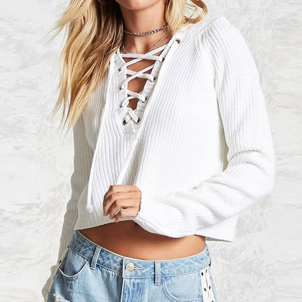 Automne Hiver Femmes Pulls et Pulls Baggy Lace Up Manteau Chunky Tricoté Pull Surdimensionné À Capuche Pull Jumper Casual Sweter Mujer
