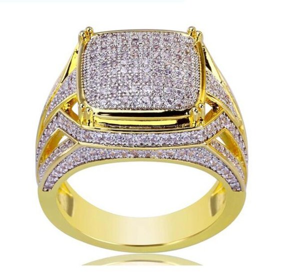 New 18k gold plated square men ring Rhinestone crystal engagement ring EU size 7 to 12
