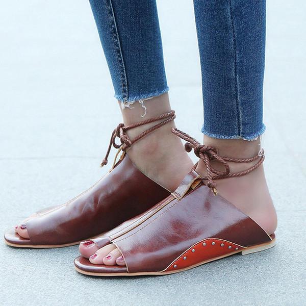 YOUYEDIAN Красные женские сандалии на плоской подошве с римскими босоножками на шнуровке с открытым носком Лодыжки на открытом воздухе Женская обувь zapatos de mujer