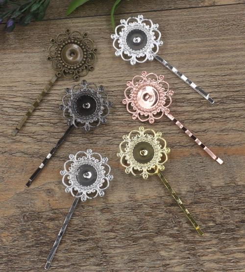 40pcs Fit 12MM Metal bobby pin vintage flower hairpin rose gold silver hairclip antique bronze hair clip barrettes diy jewelry