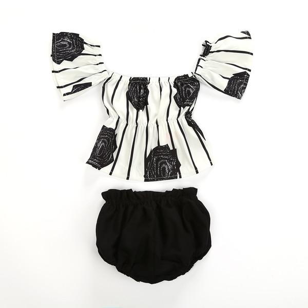 2018 Ropa para niñas nuevas Summer Baby Girls Off hombro Blusas florales + Baby Bloomers Shorts 2PCS Trajes Sunsuit Niños Niñas Conjuntos de ropa