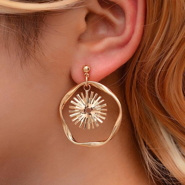 Boho lang Sonne Blume baumeln Ohrringe hängend für Frauen Sunflower Fashion Statement Schmuck unregelmäßigen Ohrringe Weibliche Brincos 2019