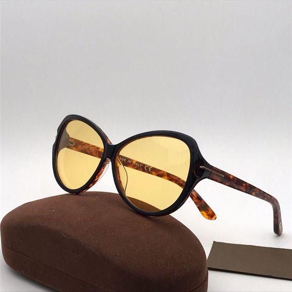 Nuevas mujeres de moda gafas de sol de diseñador Ojo de gato Gafas de tablón simples Gafas de visión nocturna Protección UV400 Gafas con estuche