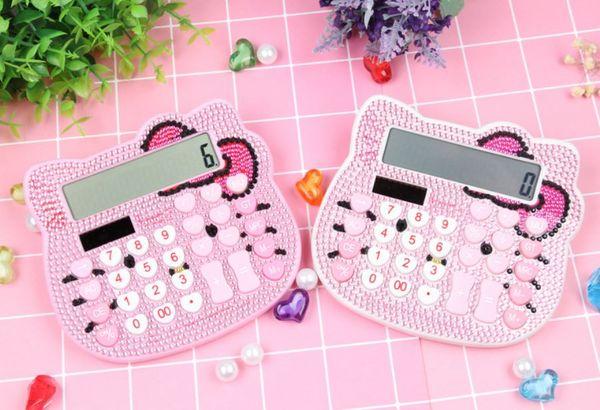 En stock Calculadora de Hello Kitty Calculadora de dibujos animados de Crystal Diamond con forma de amor EN CLAVE