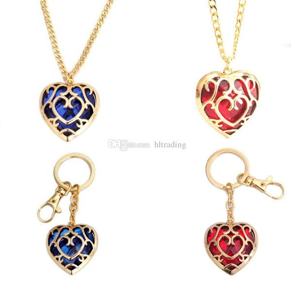 A Lenda de Zelda coração pingente de cristal colar e chaveiros vermelho Azul amor forma gem chave colar de corrente C6869