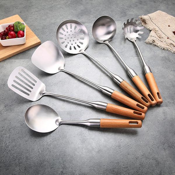 2019 Wood Handle Kitchen Utensils Stainless Steel Cooking Utensils Cooking  Tool Metal Utensils Home Restaurant Star Hotel From Heyheysmallshop, $2.96  ...