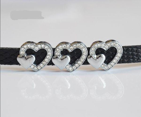 Fashion 50pcs-100pcs DIY Accessory Zinc Alloy 8mm Inner Dia. 17MM*14MM Heart Slide Charm Bead DIY 8MM Dog Cat Collar Wristband