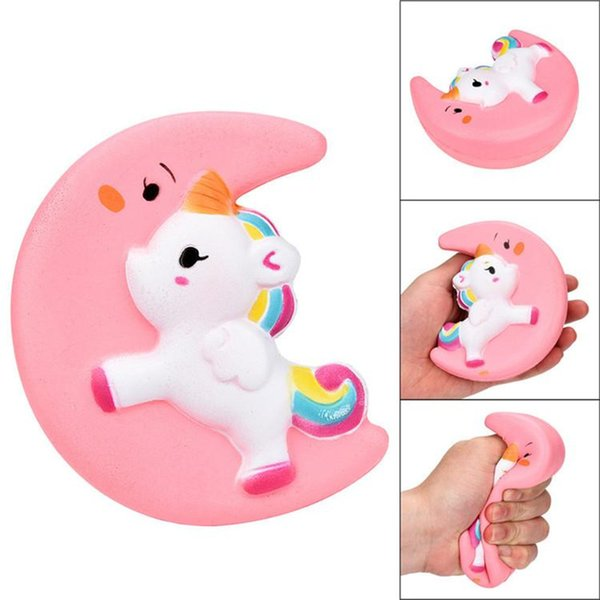 New Squishy Slow Rising Unicorn Moon Flash Powder Charms Jumbo Kawaii Phone Straps Pendant Stress Reliever toys kids Christmas Birthday Gift