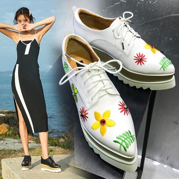 Modedesigner Marke Schuh Frauen Plattform Sandalen Gestickte Starke Absätze Peep Toe Casual Sandalen Britischen Stil Keilabsatz c2