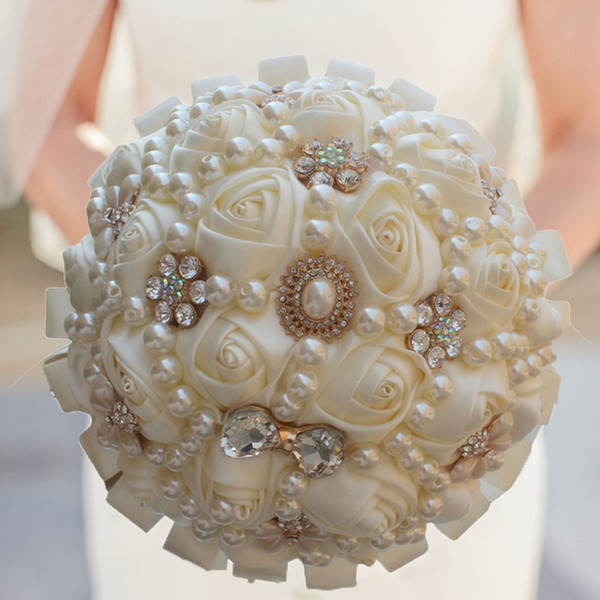 2020 wedding bridal bouquets sweet 15 quinceanera bouquets bridal bouquet artificial flower pearls crystal satin flower ing