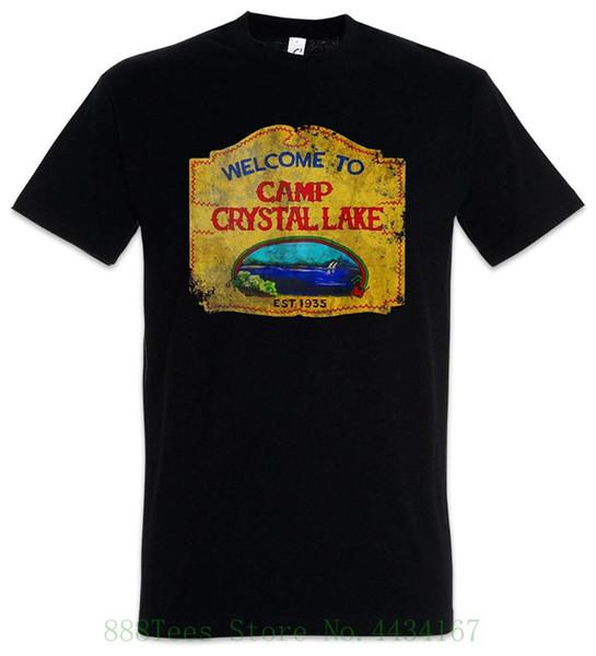 Camp Crystal Lake Vintage Sign T shirt Jason Horror 13th Sizes S 5xl Short Sleeve Tshirt Fashion
