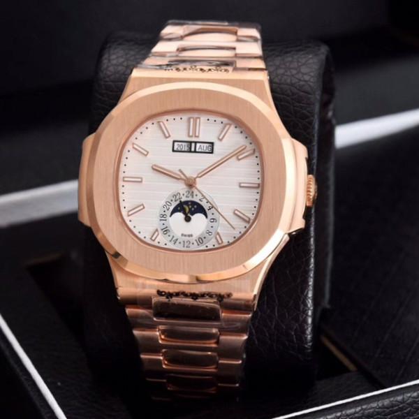 41mm mit Tag und Datum 5711 Herren-Sportuhren Mechanische Armbanduhren Transparente Struktur Design Edelstahl Wristwatc