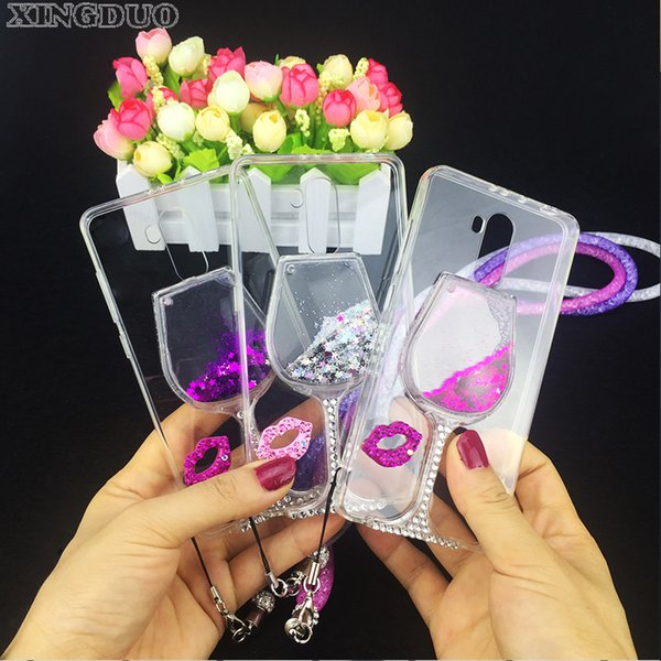 wholesale For xiaomi redmi 4x case Rhinestone Wine Glass phone Case with Hang Rope For xiaomi redmi 4 pro/mi5/6/3s/note 4/note 4x