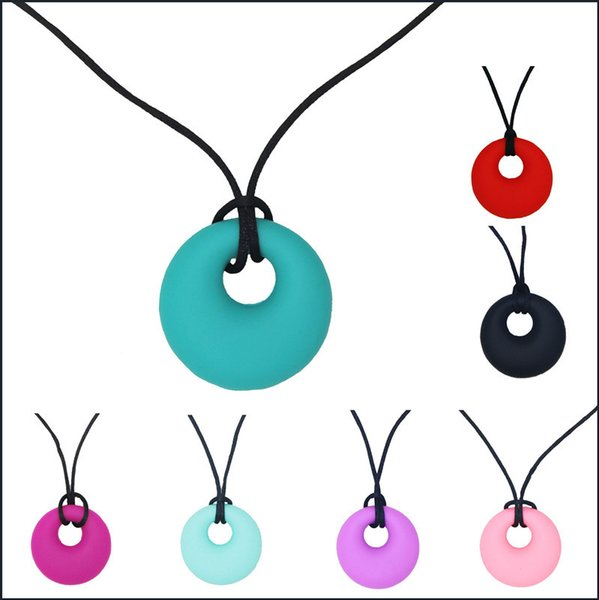 1pcs Silicone Baby Teether Toddler Kids Drop Ring Teething Black Chian Necklace Pendants Newborn Tooth Chewable Teething Toy