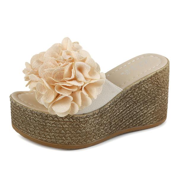 2020 slippers women's summer fashion wear waterproof platform slope heel cool drag thick bottom high heel muffin bottom word slippers