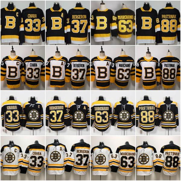 2019 2020 Third Alternate Ice Hockey Boston Bruins 88 David Pastrnak Jersey 33 Zdeno Chara 37 Patrice Bergeron Winter Classic Black White