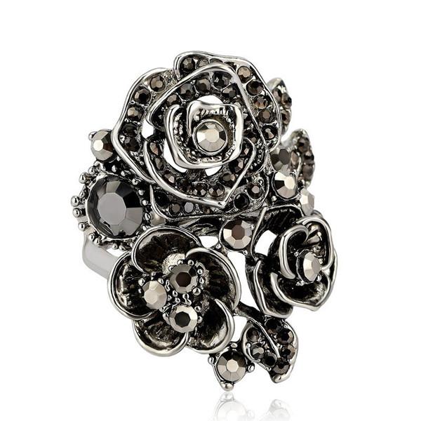 ZORCVENS Black Rose Flower Big Vintage Rings For Women Unique Retro Crystal Rhinestone Jewelry Luxury Gift