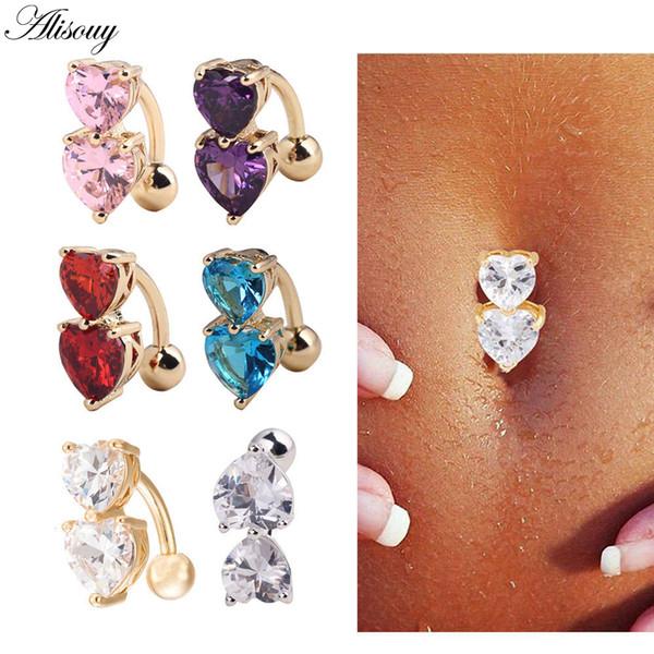 Alisouy 1 unid acero anillos del botón del vientre cristal piercing ombligo piercing ombligo pendiente oro joyería del cuerpo del sexo del vientre