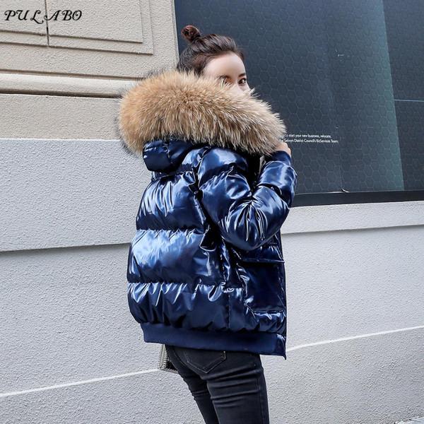 Kadınlar Kış Ceket Aşağı Ceket Gerçek Tilki Kürk Yaka Aşağı Parka Giyim Kalın Sıcak Kış Giyim 2018 Moda Ördek Ceket