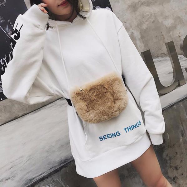 SXME Fashion Teenage Girls Fanny Packs Luxury Plush Waist Packs Crossbody Belt Bag Heuptas Pochete Waist Bag Women Purses