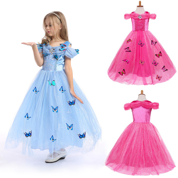 ddc52d8bce2d Cinderella Princess Dress Cosplay Girls Fantasy Butterfly Costume Short  Sleeve Party Events Gowns Christmas Fancy dress