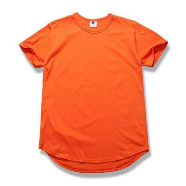Round Hem Orange Khaki Black Pink White Army Green Grey T Shirt Fashion Hip Hop Streetwear Tee Shirt Camiseta Hombre T Shirt Men