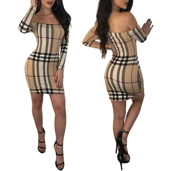 New Fashion Long Sleeve Sexy Dress Spring Autumn Casual Women Clothing Designer Brand Classic Plaid Dresses Ladies Clothes Tops Tight Skirt