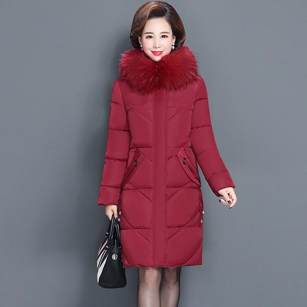 Veste hiver femme col de fourrure veste femme mince coton rembourré veste à vêtements manteau parka d'hiver de grande taille