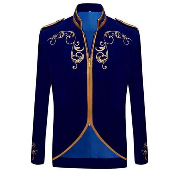 Nizza British Style Prince Fashion Schwarz Samt Gold Stickerei Blazer Hochzeit Bräutigam Slim Fit Anzug Mantel