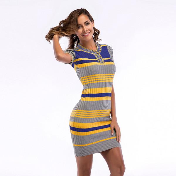 Großhandel sommer vintage dress frauen damen schwarz gelb grau sexy pullover dress 5718 schwarz gestrickte gestreifte mantel mini dress