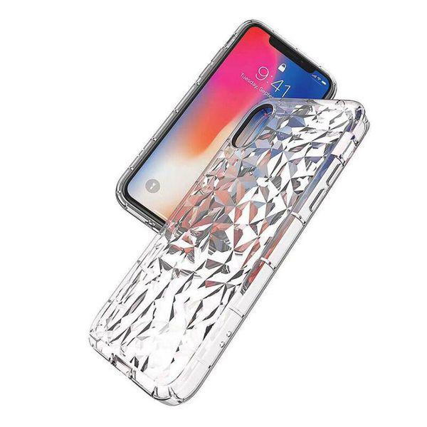 TPU - Funda transparente con textura de diamante ultrafino para iPhone 6s 8 7 XS XR Max Samsung S9 S8 S10 Transparente Funda de TPU Cubierta posterior a prueba de golpes 200pcs