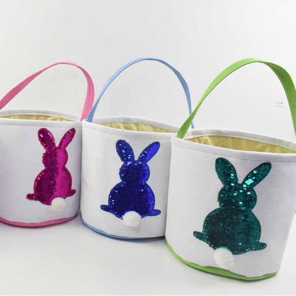 Sequin rabbit Easter Basket Canvas bag Eggs Candy and Gifts Carry Bucket Daily Storage Festival Decoration