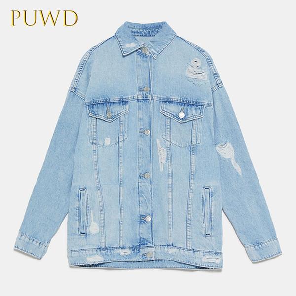 PUWD kadınların yeni yırtık kot ceket ceket tarzı çok yönlü