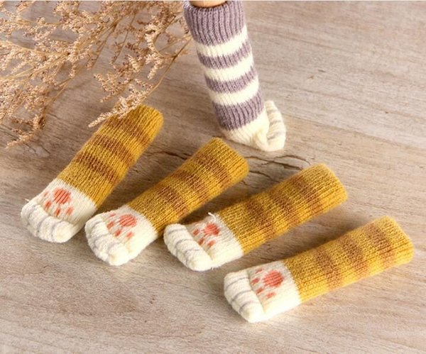 2019 4Pcs /Set Cute Cat Paw Table Chair Foot Leg Knit Cover Protector Socks Sleeve Protector Good Scalability Non-Slip Wear